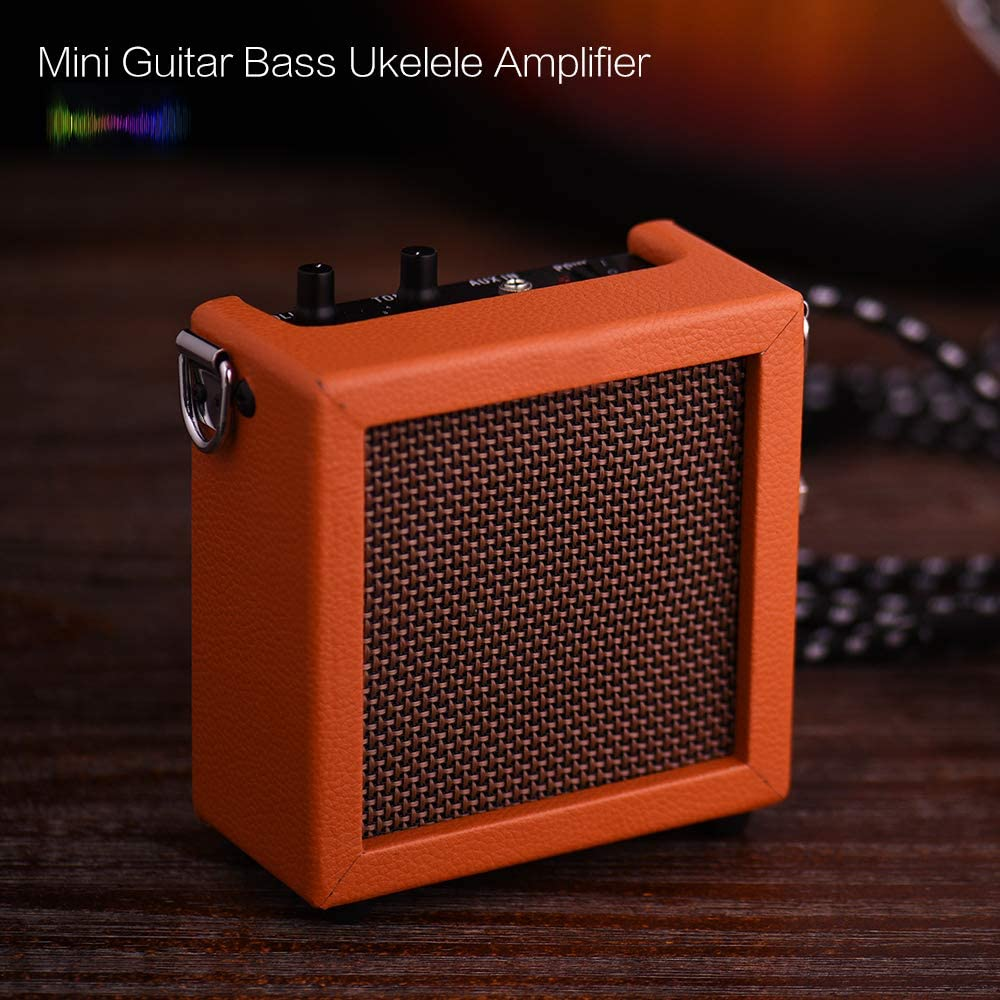 Kalaok Bateria Cargada Mini Guitarra Bajo Ukelele Amp Amplificador Altavoz Alta Sensibilidad 3 Vatios de 9 Voltios con Control de Tono de Volumen