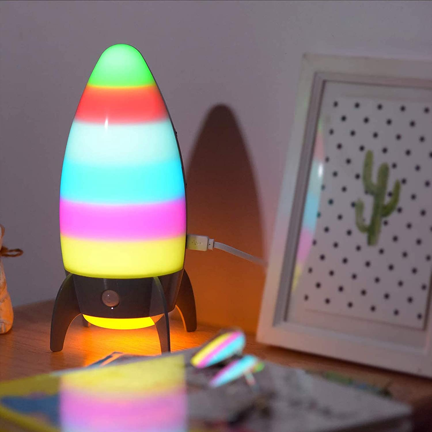 Rocket Night Lights for Kids with 7 RGB Color-Changing Motion Sensor, Warm White Spaceship Bedside Lamp Holiday Xmas Gifts for Baby Room, Bedroom, Hallway