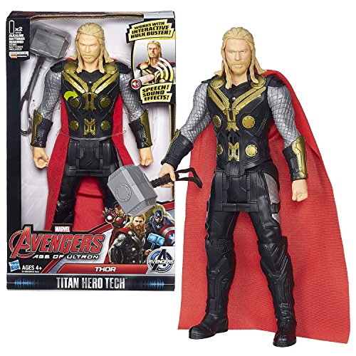 Hasbro Year 2015 Marvel Avengers Age of Ultron Titan Hero Tech 12 Inch Tall Electronic Action Figure - THOR with Speech Sound Effect Feature Plus Mjolnir Hammer