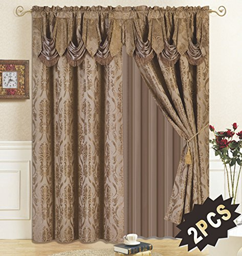 All American Collection New 4 Piece Drape Set with Attached Valance and Sheer with 2 Tie Backs Included (Taupe) 2 New Valances Curtains