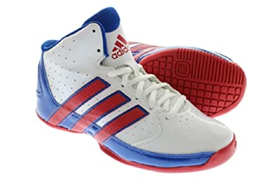 becaa55bdb5c8a Adidas White Rise up 2 NBA K Basketball Lace Up Trainers sneakers Junior  Boys Girls