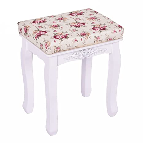Amazon Com Giantex White Vanity Stool For Women With Velcro Padded