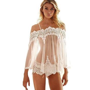 Sexy Underwear Paellaesp Mujer Ropa Interior Lace Camisa de dormir Salto de Cama Encaje Transparente Blusa