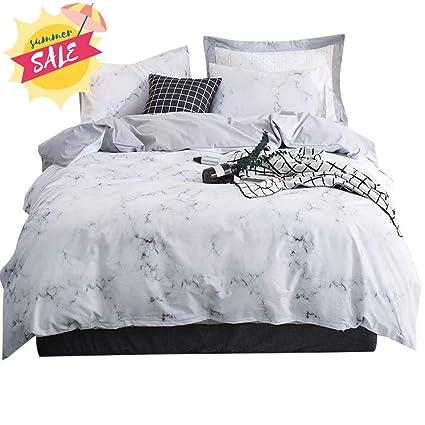 Cotton Bedding Sets King.Amwan Soft Cotton Marble Duvet Cover Set King White Grey Reversible Bedding Set Vintage Luxury 3 Piece Duvet Comforter Cover Set For Teens Girls