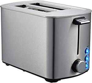JIERTYU Toaster, Stainless Steel Toaster for 2 Bread Slices - with A Long Slot, Stainless Steel Surfaces, 5 Power Levels, 2 Preconfigured Functions, Crumb Tray (750 W)