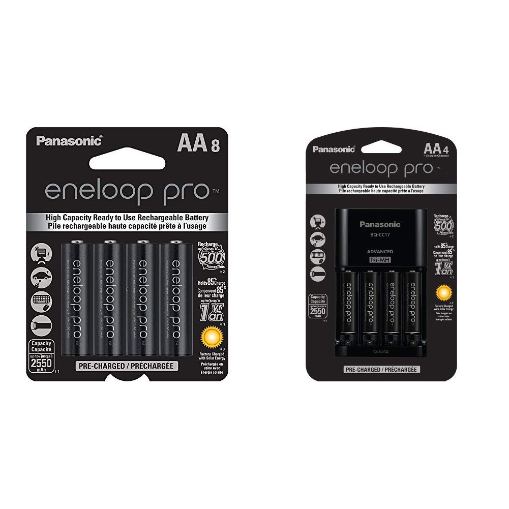 Panasonic eneloop pro AA High Capacity Ni-MH Pre-Charged Rechargeable Batteries,8 Pack & Advanced Individual Cell Battery Charger Pack with 4 AA eneloop pro High Capacity Ni-MH Rechargeable Batteries by eneloop