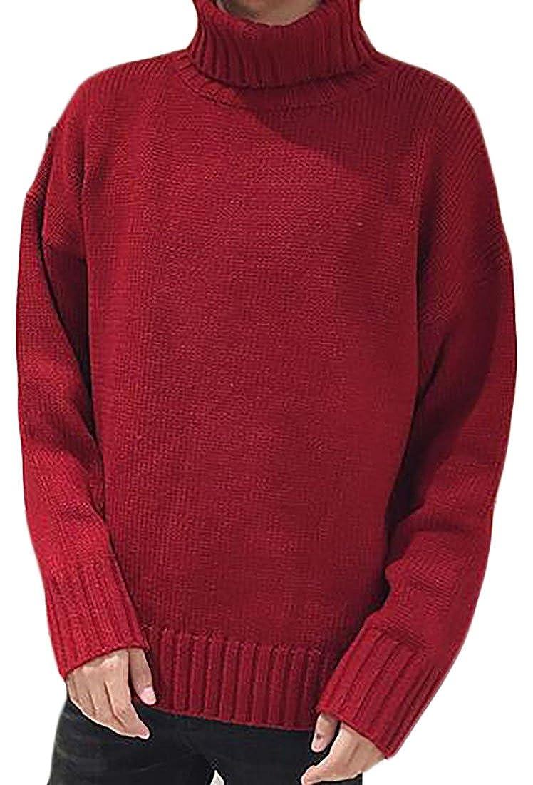 Fulok Mens Winter Loose Turtleneck Knit Loose Pullover Jumper Sweaters