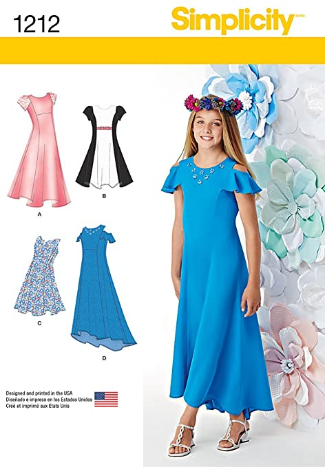Simplicity 1212 Size AA Girl\'s and Girl\'s Plus Dresses Sewing ...