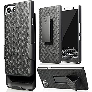 BlackBerry KEYone Clip Case, Nakedcellphones Black Kickstand Case + Belt Clip Holster for BlackBerry KEYone Phone (Verizon/ATT/Sprint/Unlocked)
