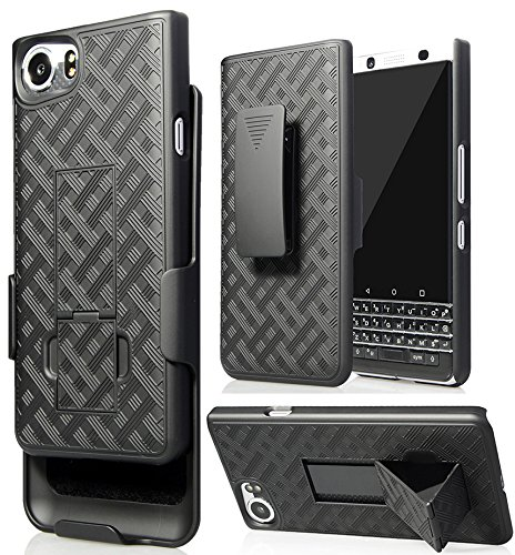 (BlackBerry KEYone Clip Case, Nakedcellphone's Black Kickstand Case + Belt Clip Holster for BlackBerry KEYone Phone (Verizon/ATT/Sprint/Unlocked))
