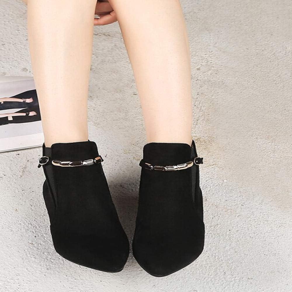 Hunzed Women Shoes Suede Pointed Low Heel Metal Chain Womens mid-Heel Booties