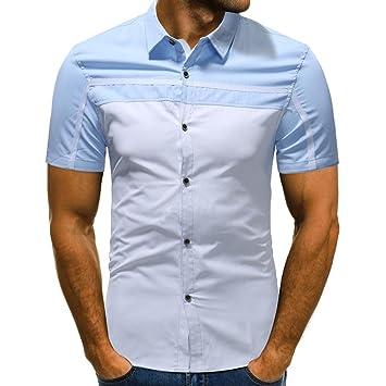 LuckyGirls Camisa Camisetas Originales Hombre Manga Cortos Verano Rayas Color de Hechizo Deportivas Blusa Moda Polos