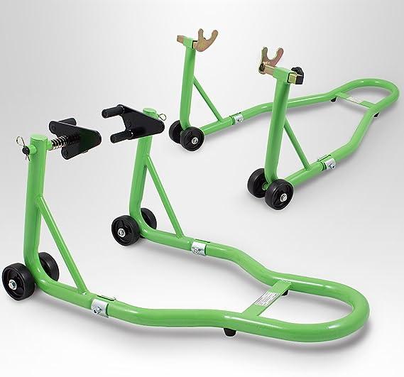 Bituxx Motorradständer Hinten Vorn Motorrad Montageständer Transportständer Grün Belastbar Bis 250 Kg Pro Ständer Auto