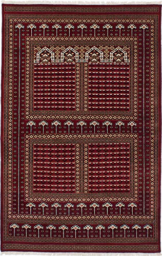 eCarpet Gallery Hand-Knotted | Area Rug for Living Room, Bedroom | Home Decor Rug | 100% Wool | Peshawar Bokhara Traditional Red Rug 5