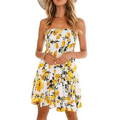 e4c3d829d70 Shinekoo Women s Summer Floral Strapless Off Shoulder Pleated Flowy Mini  Tube Party Dress Bandeau Beach Dresses