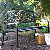 Coral Coast Scrolling Hearts Curved Back Metal Garden Bench