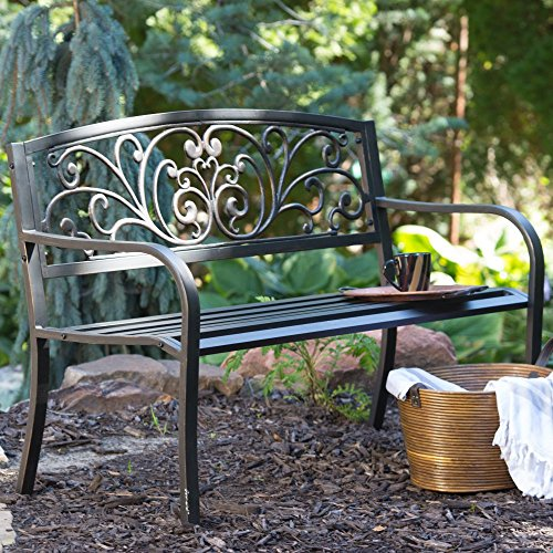 - Coral Coast Scrolling Hearts Curved Back Metal Garden Bench