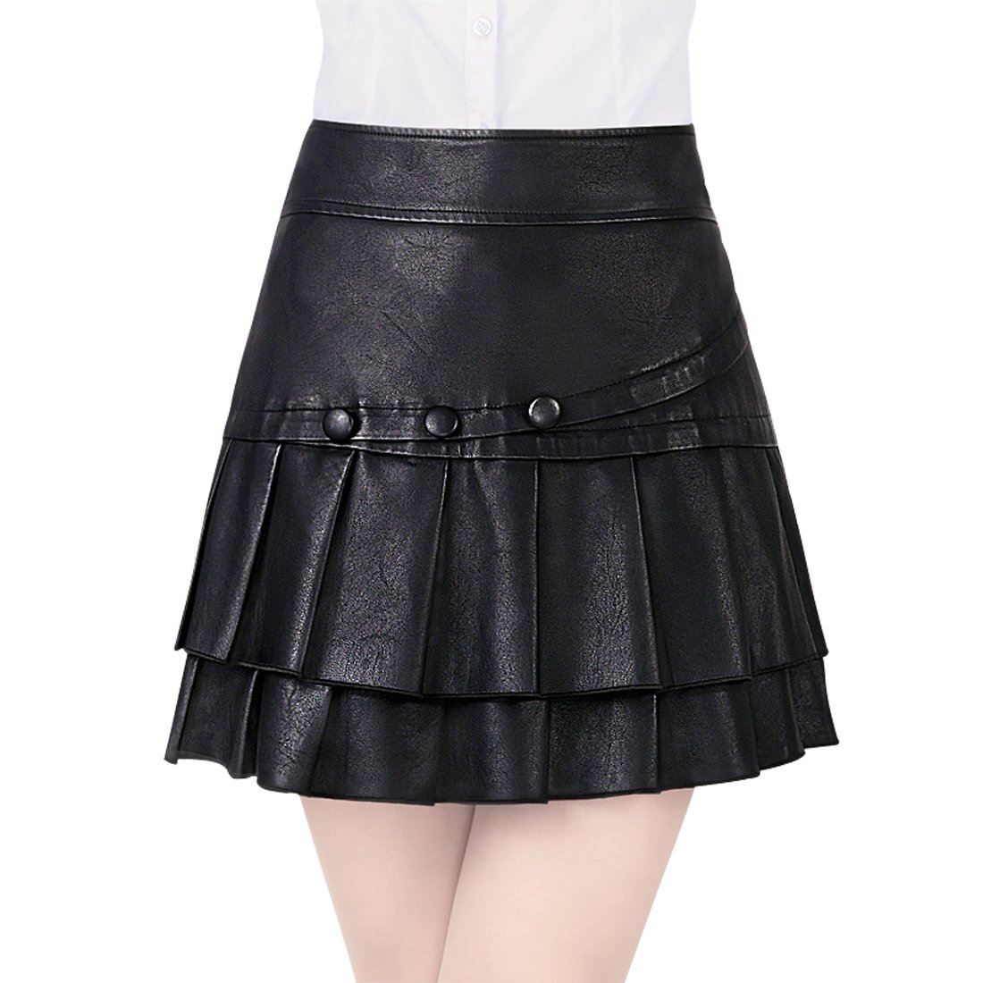 Wincolor Women's High Waist Faux Leather PU A-line Pleated Mini Skirt Culottes