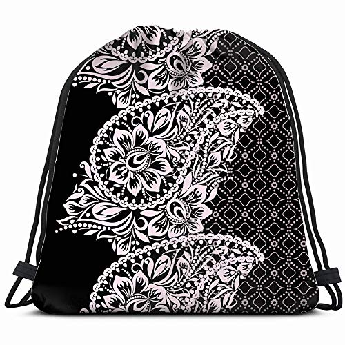 (Black White Lace Paisley Beauty Fashion Border Vintage Drawstring Backpack Sports Gym Bag For Women Men Children Large Size With Zipper And Water Bottle Mesh Pockets)