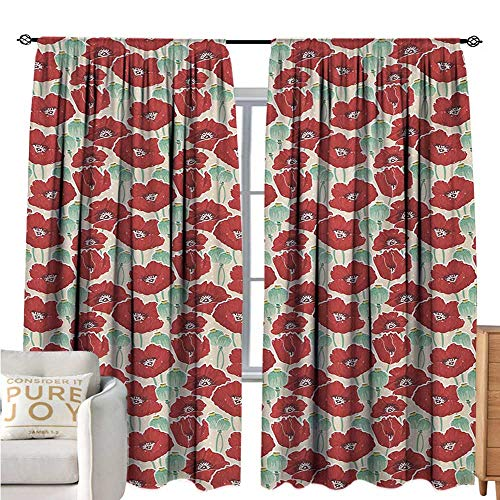 bybyhome PoppyPrinted curtainSpring Garden Pattern with Red Blossoms Seed Capsules and Little DotsEnvironmental Protection W72 xL84 Mint Green Ruby and Beige