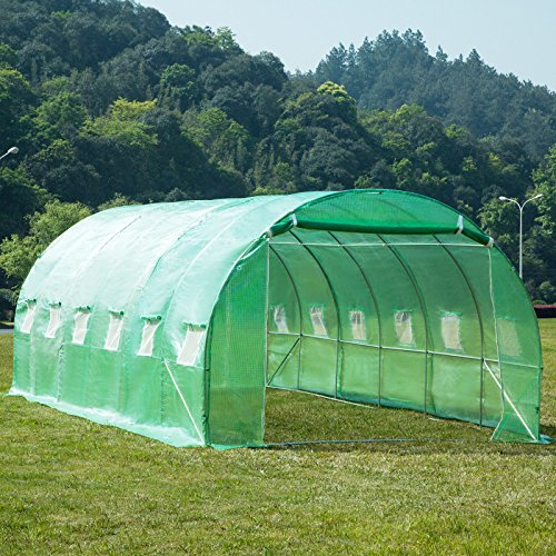 Doors Zipper Double (Outdoor Ex- Large Size 20'x10'x7' Walk-In Tunnel Green House,Double Zipper Door Portable Greenhouse Screen Plant Gardening House, Plant Protector,UV Protected Green Hot House W/12 Side Vent)