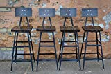 Set of Four Reclaimed Wood Stools | Salvaged Barn Wood | Steel Backrest | FREE SHIPPING Review