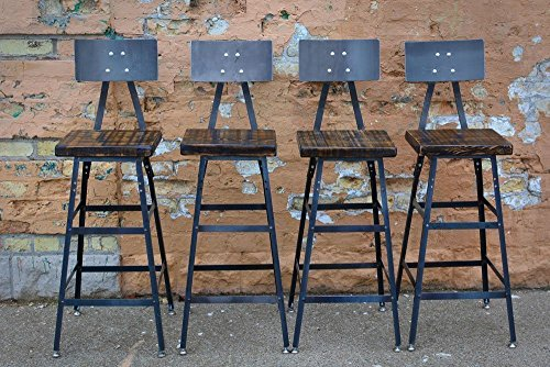 Set of Four Reclaimed Wood Stools | Salvaged Barn Wood | Steel Backrest | FREE SHIPPING
