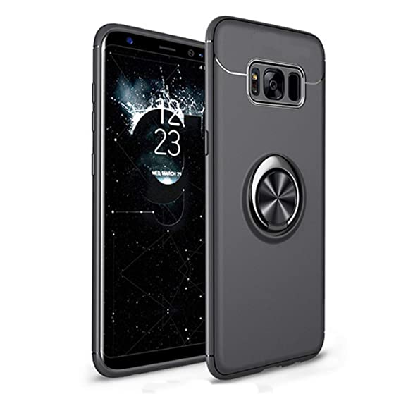 new arrival c504c 17938 Case Compatible with Galaxy S8 Case Kickstand, Heavy Duty Shockproof Hard  PC Phone Case Cover Magnetic Ring Holder