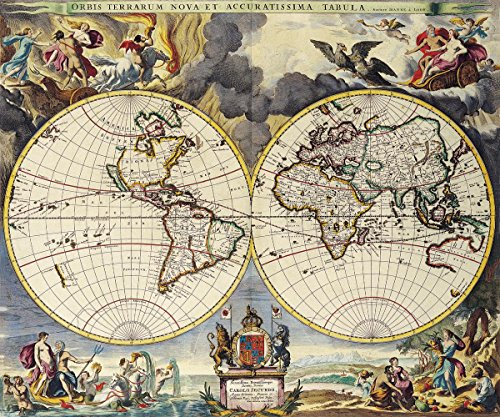 (Quality Prints - Laminated 28x24 Vibrant Durable Photo Poster - Vintage Map - Old Map 66 Antique Maps of The World Double Hemisphere M)