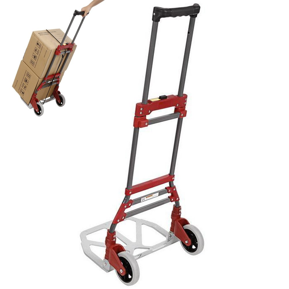 Aluminum Folding Hand Truck Dolly Luggage Carts with Rope, 165 lbs Capacity