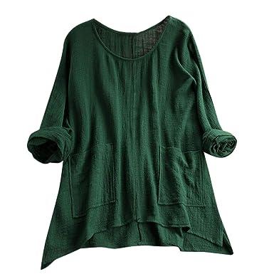 8d0f43372ea Shirt Retro Solid Color Irregular Pocket Shirt Tunique Femme Womens ...