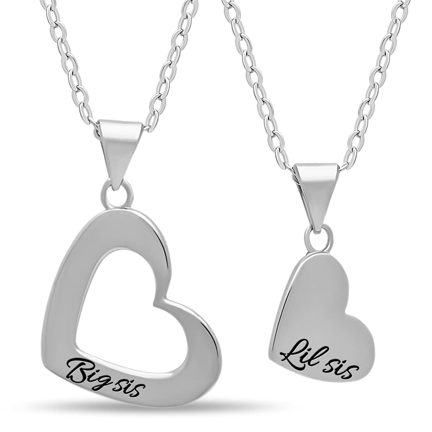 """925 Sterling Silver Sister Heart Necklace Set for Big Sis Lil Sis - Engraved 14K Gold or Silver Plated for Two Sisters Pendants Double Heart Necklaces for Sisters Chain 16"""" + 2"""" Ext w Clasp"""