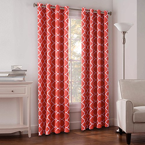 FlamingoP 52x63-Inch Energy Efficient Moroccan Tile Quatrefoil Blackout Top  Grommet Unlined Thermal Insulated Window Curtains, Set of 2, Coral