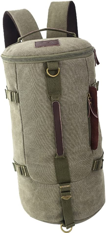 Yiuswoy Extra Large Multifunctional Retro Cylindrical Sports Shoulder Bag Backpack Rucksack Army Green