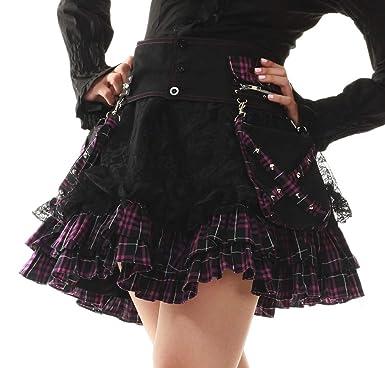 18d6d4fafce4 Lolita Charm Women's Punk Lolita Nana Skirt-One Size-Black and Purple