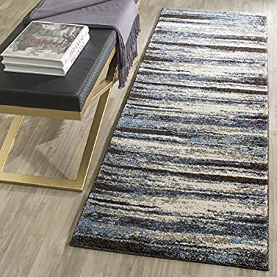"Safavieh Retro Collection RET2138-1165 Modern Abstract Cream and Blue Runner (2'3"" x 7') - Abstract design adds an eclectic and artistic flair Plush polypropylene fibers are virtually non-shedding Power-loomed construction ensures resilience in high-traffic areas - runner-rugs, entryway-furniture-decor, entryway-laundry-room - 61%2BP8agx2bL. SS400  -"