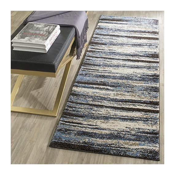 """Safavieh Retro Collection RET2138-1165 Modern Abstract Cream and Blue Runner (2'3"""" x 7') - Abstract design adds an eclectic and artistic flair Plush polypropylene fibers are virtually non-shedding Power-loomed construction ensures resilience in high-traffic areas - runner-rugs, entryway-furniture-decor, entryway-laundry-room - 61%2BP8agx2bL. SS570  -"""