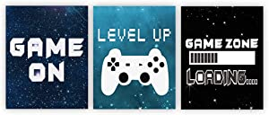 Video Game Themed Art Game Posters Gaming Wall Decor Set of 3 Nursery Prints Kids Room Boys Playroom Bedroom Decor (UNFRAMED)