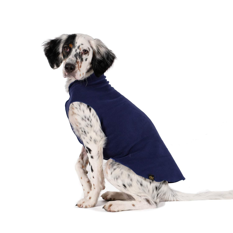 Gold Paw Stretch Fleece Dog Coat - Soft, Warm Dog Clothes, Stretchy Pet Sweater - Machine Washable, Eco Friendly - All Season - Sizes 2-33, Navy, Size 16 by Gold Paw