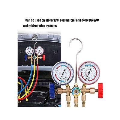 BOOMBOOST Outils de climatisation réglés avec Un collecteur de Fluide réfrigérant avec Tuyau et Crochet pour la réfrigération de la climatisation R12 R22 R404A R134A Auto et Moto