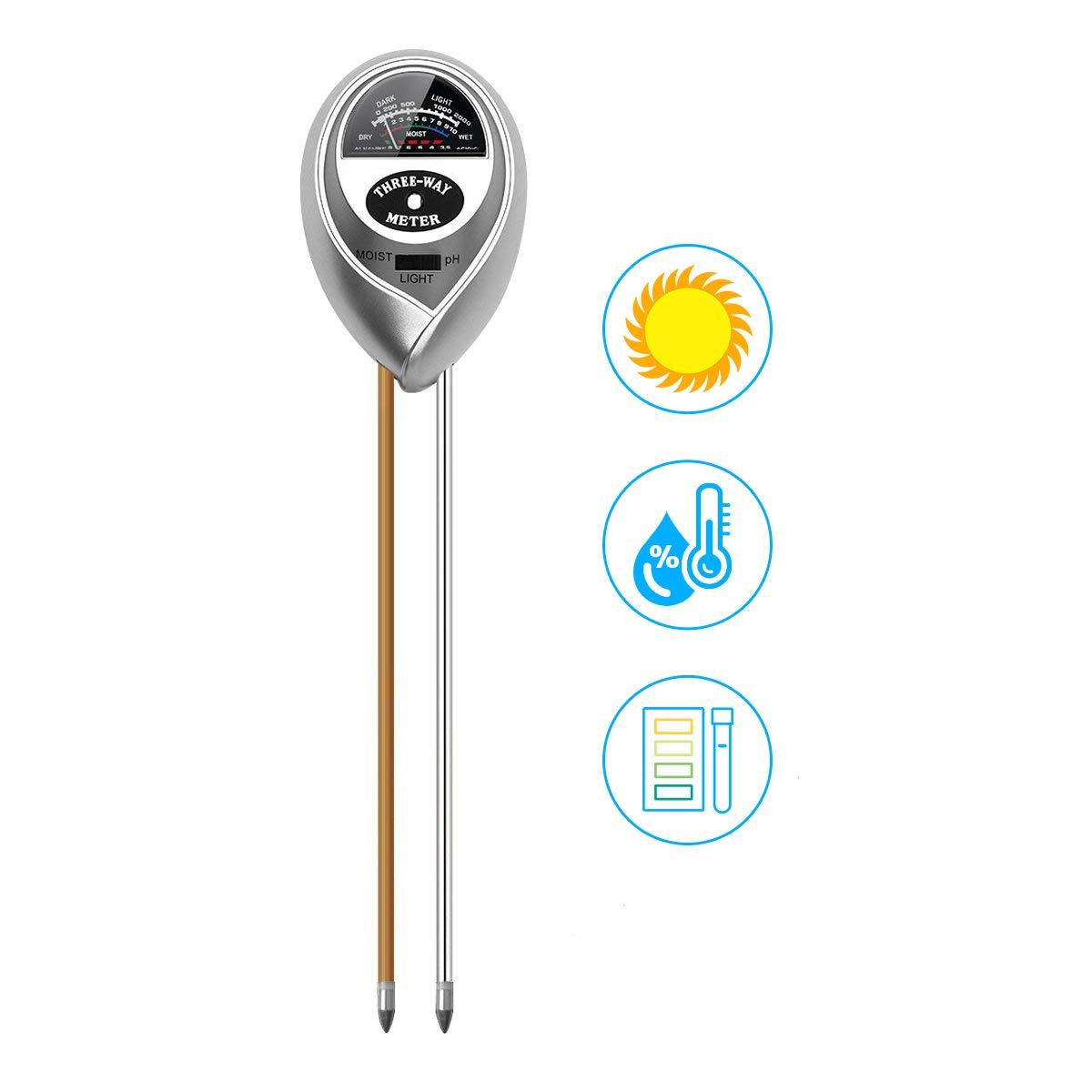 Spearmint Technology 3 in 1 Soil PH Meter Pro, Digital Soil Test Kit Soil Moisture/PH Acidity/Light/ Tester, Plant Tester Garden, Farm, Lawn, Indoor Outdoor Use Easy Read Indicator No Battery Needed