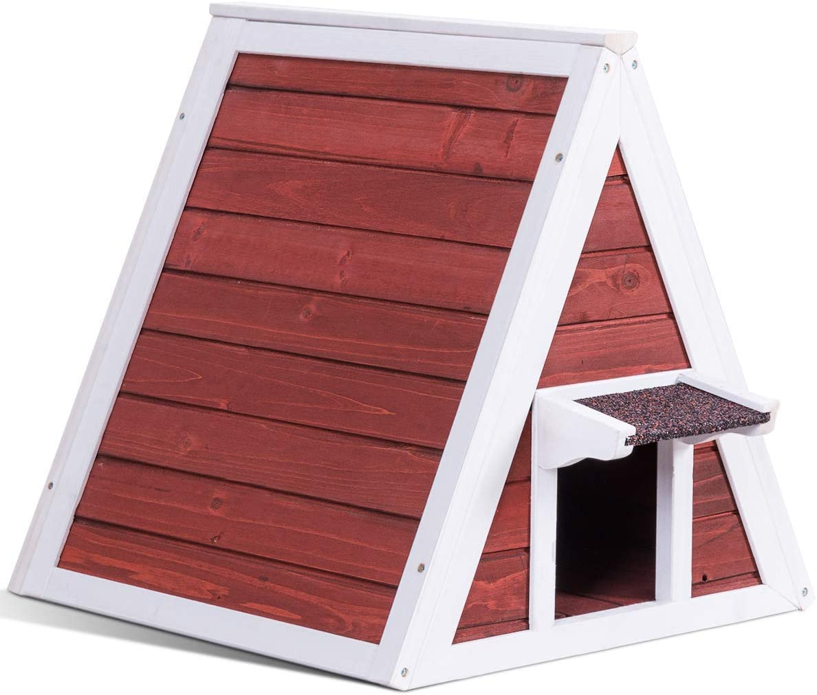 Tangkula Triangle Cat House, Wooden Indoor Outdoor Weatherproof Pet Kitten Condo Shelter with Back Escape Door, Cat House with Eave to Prevent Rain for Animals Red