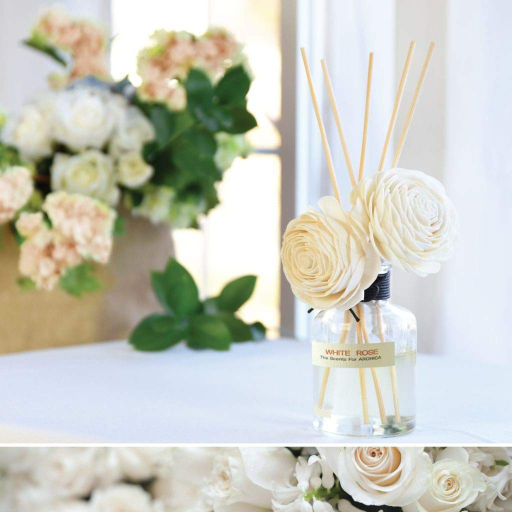 Aronica Premium Twin Flower and Reed Diffuser with Refill 8.8oz/260 ml - White Rose by Aronica (Image #4)