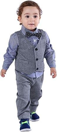 Vest Includes Shirt Pants Tie Boys Pinstripe Suit Three Button Kids Outfit