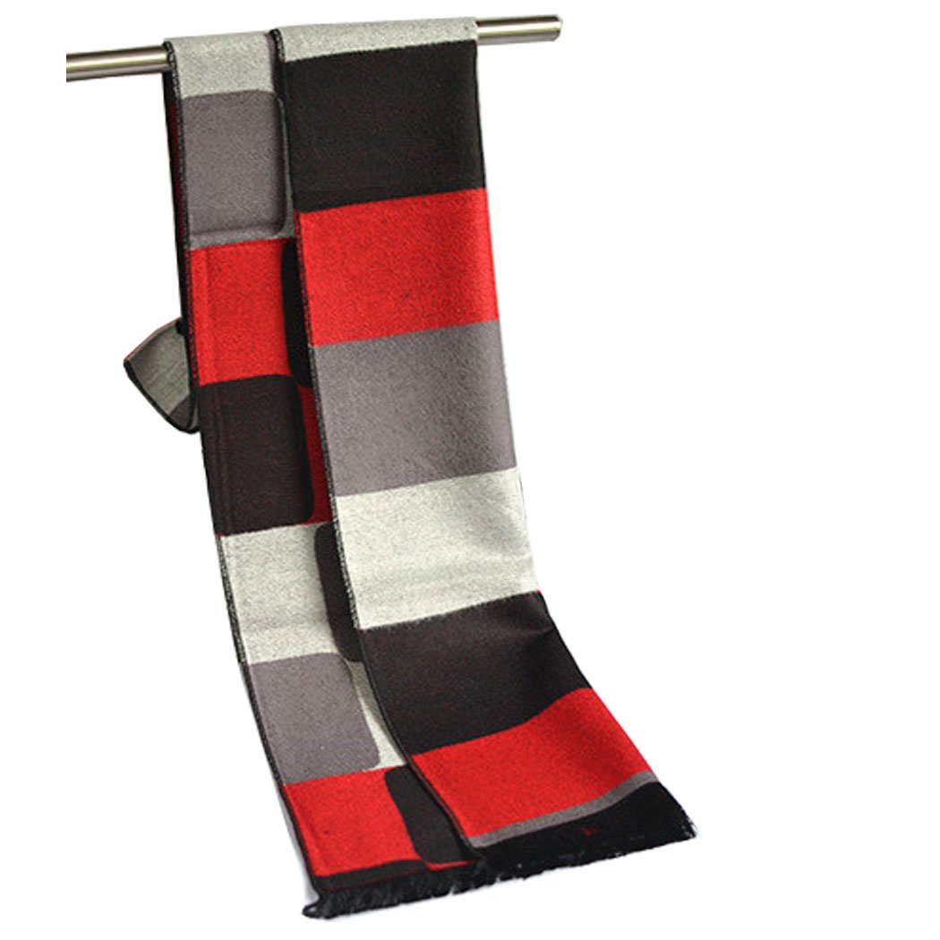 SNUG STAR Men's Oversize Check Scarf Long Warm Lightweight Winter Scarf (Red and Black)
