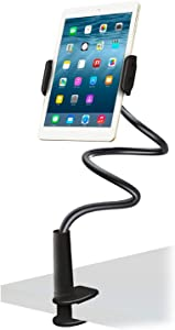 Aduro Solid-Grip iPad Stand Holder 360 Adjustable Universal Gooseneck Lazy Tablet Stand for Desk – Swivel Durable Rubberized Video Mount for Recording Holder (Black)