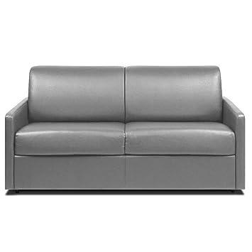 Inside sofá Convertible Rapido Delice 140 cm - colchón con Memoria de Forma Cabeza de Cama integrada Piel de Vacuno Reciclado Gris Claro: Amazon.es: Hogar