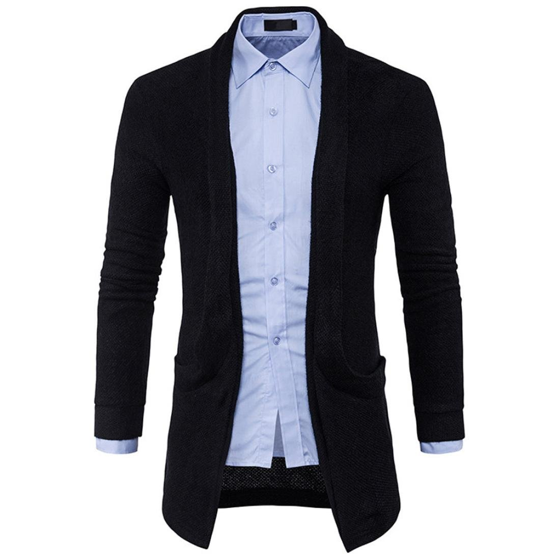Cardigan,FUNIC Mens Slim knitted Sweater Cardigan Fashion Long Coat Jacket (M, Black)
