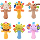 Lazada Cartoon Stuffed Animal Baby Soft Plush Hand Rattle Toys Infant Dolls 2 PCS Random