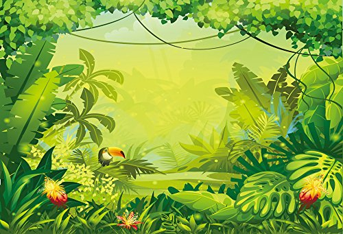 (HUAYI 7x5ft Jungle safari backdrop kids Photography Backdrops happy birthday dessert table background Banner birthday floral Baby shower Party decoration)